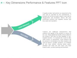 Key Dimensions Performance And Features Ppt Icon
