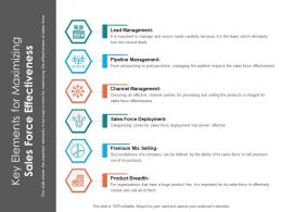 Key Elements For Maximizing Sales Force Effectiveness