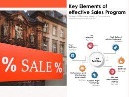 Key Elements Of Effective Sales Program