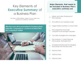 Key Elements Of Executive Summary Of A Business Plan