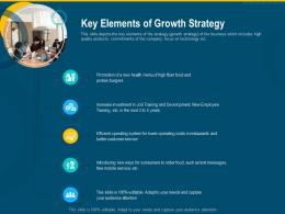 Key Elements Of Growth Strategy Investment Pitch Raise Funding Series B Venture Round Ppt Grid