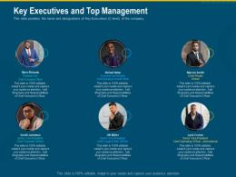 Key Executives And Top Management Investment Pitch Raise Funding Series B Venture Round Ppt Slide