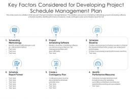 Key Factors Considered For Developing Project Schedule Management Plan