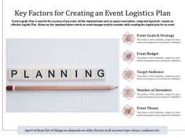 Key Factors For Creating An Event Logistics Plan