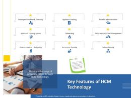 Key Features Of HCM Technology M1259 Ppt Powerpoint Presentation Visual Aids