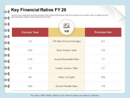 Key Financial Ratios Fy 20 Turnover Ppt Inspiration