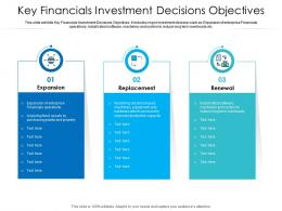 Key Financials Investment Decisions Objectives