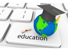 Key For Education With Globe And Graduation Cap Stock Photo