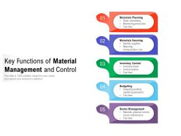Key Functions Of Material Management And Control