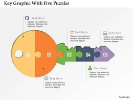 Key Graphic With Five Puzzles Powerpoint Template