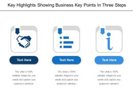 Key Highlights Showing Business Key Points In Three Steps