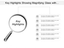 Key Highlights Showing Magnifying Glass With Text Options
