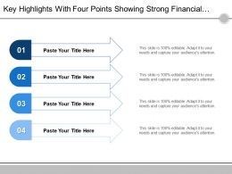 Key Highlights With Four Points Showing Strong Financial Profile