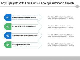 Key Highlights With Four Points Showing Sustainable Growth Opportunities