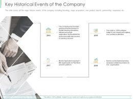 Key Historical Events Of The Company Ppt Powerpoint Presentation Portfolio Layouts