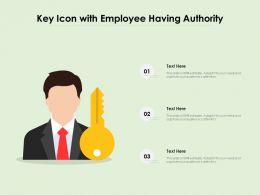 Key Icon With Employee Having Authority