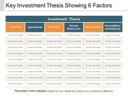 Key Investment Thesis Showing 6 Factors