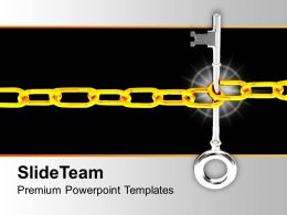 Key Locked With Chain Security PowerPoint Templates PPT Themes And Graphics 0113