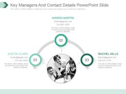 Key Managers And Contact Details Powerpoint Slide