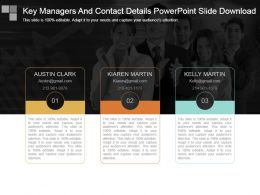 Key Managers And Contact Details Powerpoint Slide Download