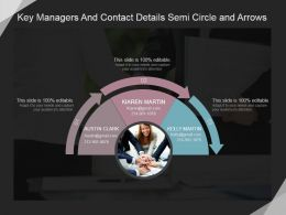 Key Managers And Contact Details Semi Circle And Arrows Ppt Icon