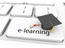 Key Of E Learning Graduation Cap With Degree Stock Photo
