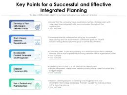 Key Points For A Successful And Effective Integrated Planning