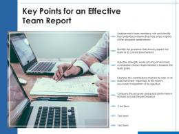 Key Points For An Effective Team Report