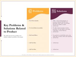 Key Problems And Solutions Related To Product Poor Picture Ppt Powerpoint Presentation Images