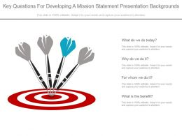 Key Questions For Developing A Mission Statement Presentation Backgrounds