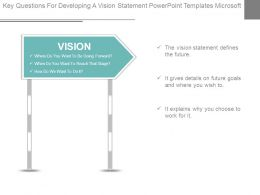 Key Questions For Developing A Vision Statement Powerpoint Templates Microsoft
