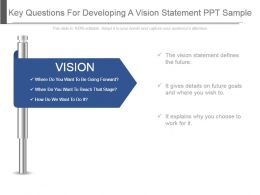 Key Questions For Developing A Vision Statement Ppt Sample