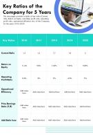 Key Ratios Of The Company For 5 Years Template 52 Presentation Report Infographic PPT PDF Document