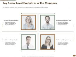 Key Senior Level Executives Of The Company Employee Background Team Ppt Portfolio Format Ideas