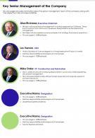 Key Senior Management Of The Company Presentation Report Infographic PPT PDF Document