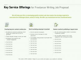 Key Service Offerings For Freelancer Writing Job Proposal Ppt Powerpoint Slides