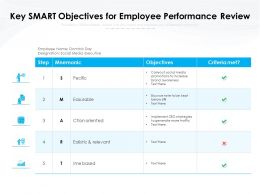 Key SMART Objectives For Employee Performance Review