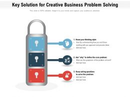 Key Solution For Creative Business Problem Solving