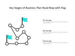 Key Stages Of Business Plan Road Map With Flag