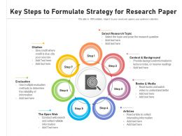 Key Steps To Formulate Strategy For Research Paper