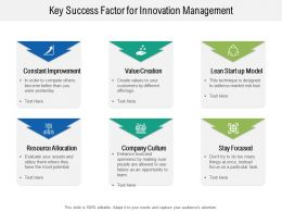 Key Success Factor For Innovation Management