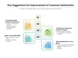 Key Suggestions For Improvement Of Customer Satisfaction
