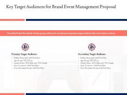 Key Target Audiences For Brand Event Management Proposal Ppt Powerpoint Topics