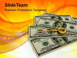 Key To Success On Dollar Notes Success Powerpoint Templates Ppt Themes And Graphics