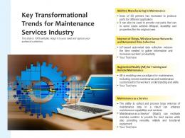 Key Transformational Trends For Maintenance Services Industry