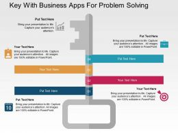 Key With Business Apps For Problem Solving Flat Powerpoint Design