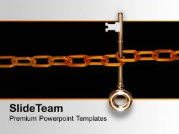Key With Chain Concept Of Security Powerpoint Templates Ppt Themes And Graphics 0113