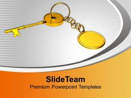 Key With Chain Security Achievement Powerpoint Templates Ppt Themes And Graphics 0213