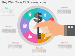 Key With Circle Of Business Icons Flat Powerpoint Design