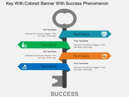 Key With Colored Banner With Success Phenomenon Flat Powerpoint Design